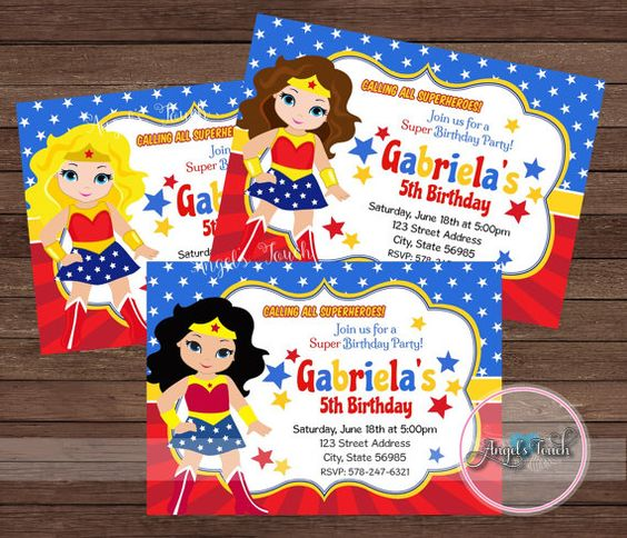 invitations for Wonder Woman's party