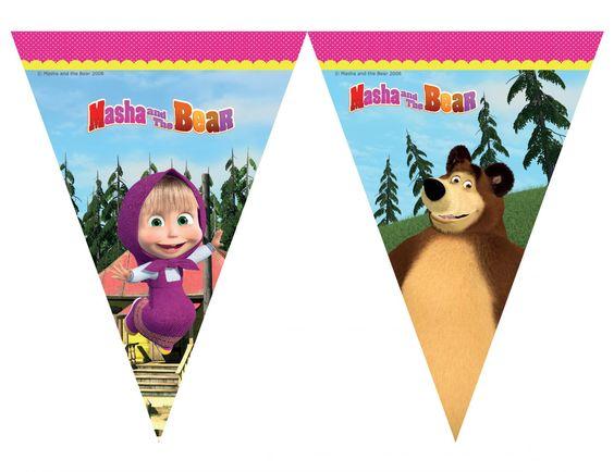 Banderines de candy bar masha and the bear