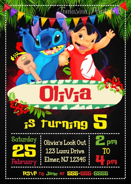 Invitations from lilo & stitch