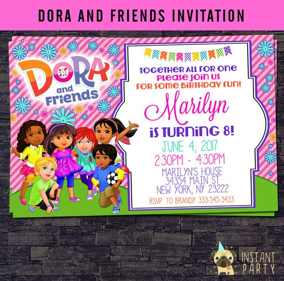 invitations from dora the explorer