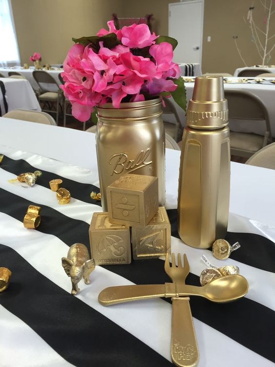 Metal table centres for baby shower