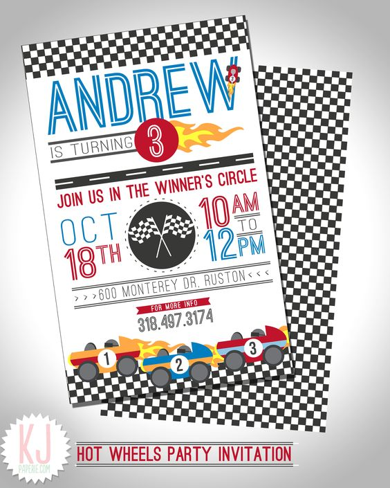 Hot Wheel Party Invitations Designs