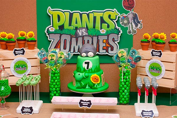decoration ideas for a party with the theme of plants vs zombies