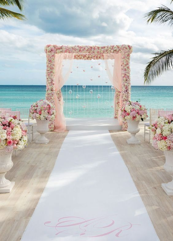 Wedding Entrance in Romantic Colors