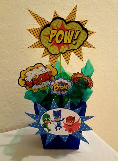 centerpieces for party heroes in pajamas