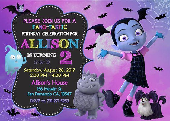 Vampirina invitations for children's parties