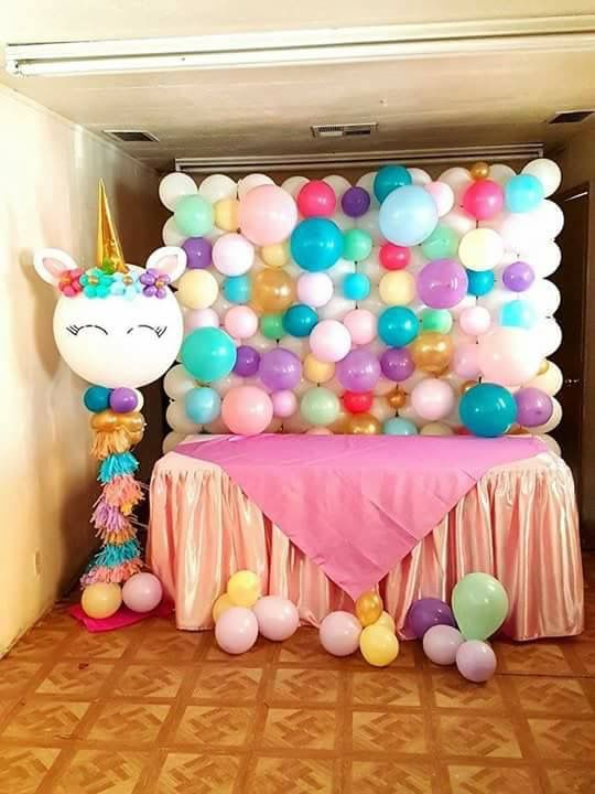 decoration with balloons main table party unicornio (3)