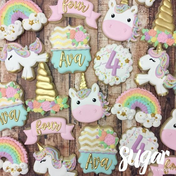 sandwiches and cookies for unicorn party dessert table (5)