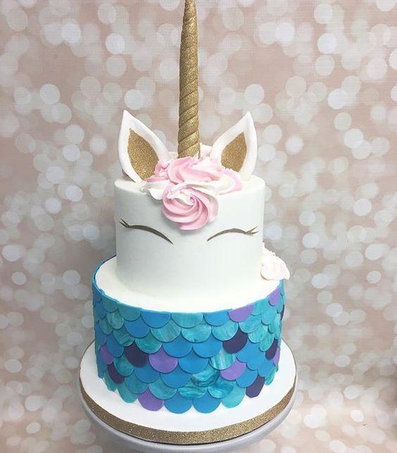 2-tier unicorn children's party cake (2)