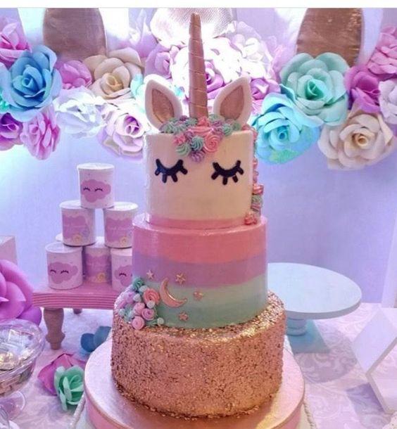 2-tier unicorn children's party cake (4)