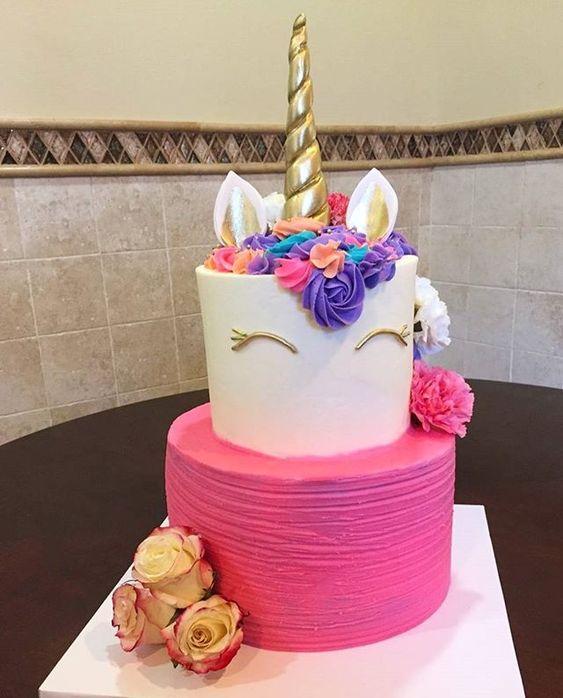 2-tier unicorn children's party cake (3)