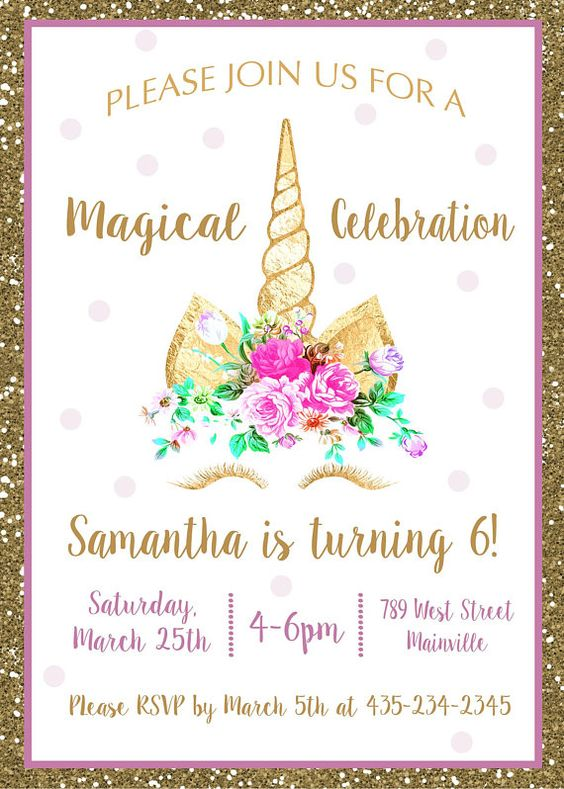 simple invitations to unicorn party