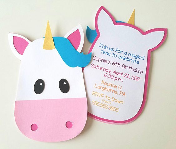 simple invitations to unicorn party (2)