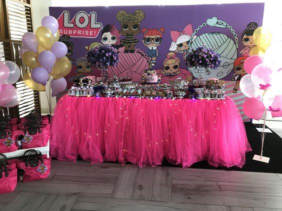ideas for decorating main table party nina theme dolls lol (3)