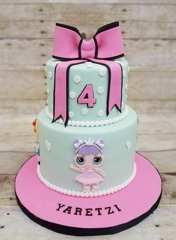 two tiered cake for nina birthday cake theme dolls lol (2)
