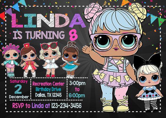 invitations for party nina theme dolls lol