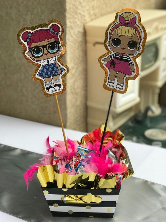 centerpiece for party nina economico theme dolls lol