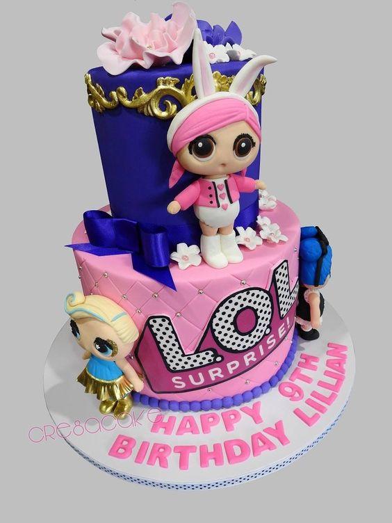 two tiered cake for nina birthday cake theme dolls lol (1)