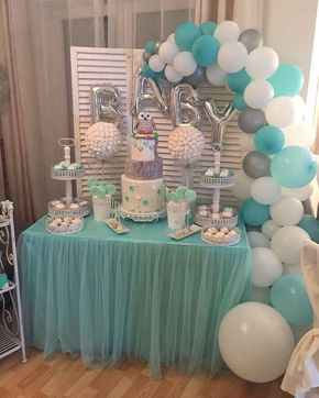 Dessert tables with balloons and tutus