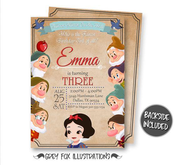 Snow White Party Invitations