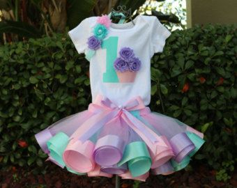 Tutus for cupcake theme parties with ribbon on the shore