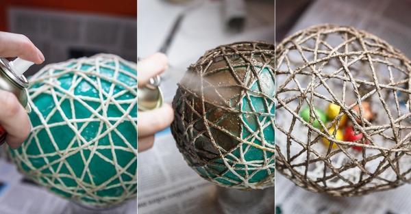 How to make balls of Natal com barbante - Step 7