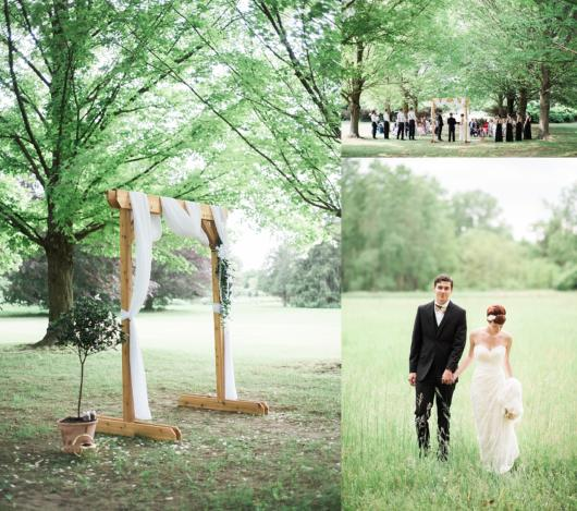 Mini wedding: ceremony decoration in the countryside with wooden arch