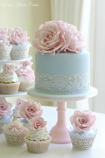 Mini wedding: blue cake