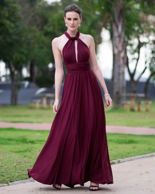 long dress with neckline