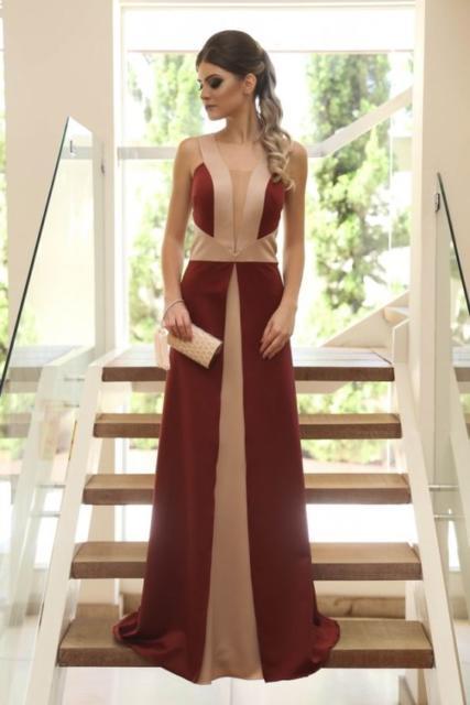 marsala and nude dress