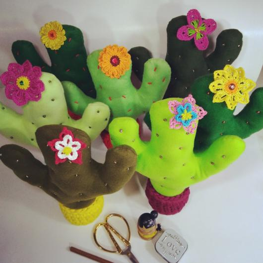Colorful cloth cacti