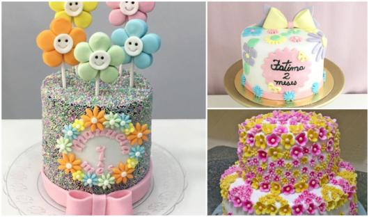 flowers theme party cakes