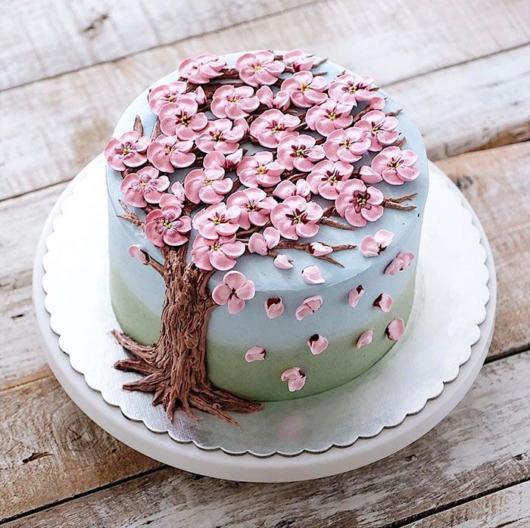 Beautiful cake with flowering tree