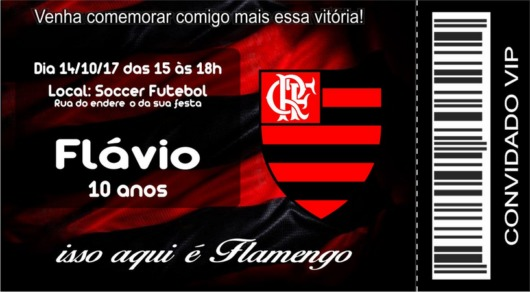 An invitation from Flamengo inspired by tickets to the games