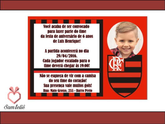 Informative phrases make all the difference in an Flamengo themed invitation