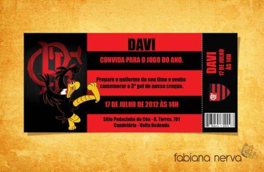 Ah, the Flamengo mascot (vulture) can also be present in the invitation