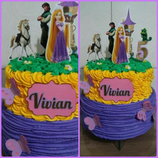 Paper ornaments help decorate Rapunzel's themed cake