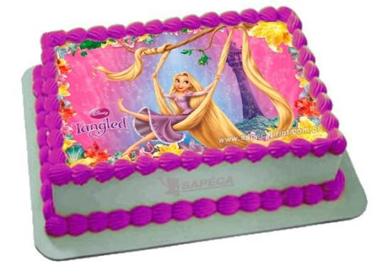 Square cake decorated with rice paper from Rapunzel