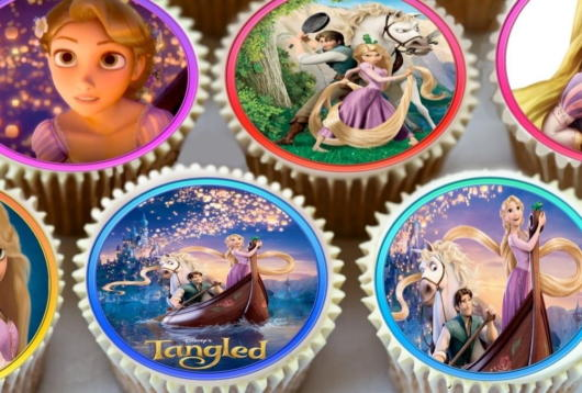 Rolled rice paper cake ideas from Tangled