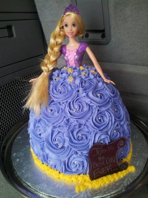 Different Rapunzel cake with whipped cream skirt