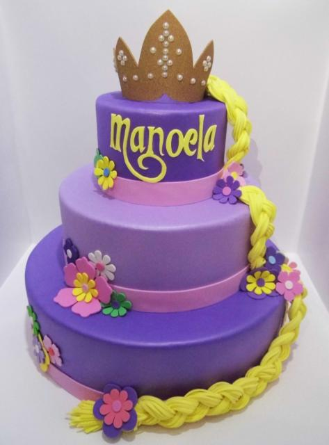 Rapunzel purple and lilac biscuit cake