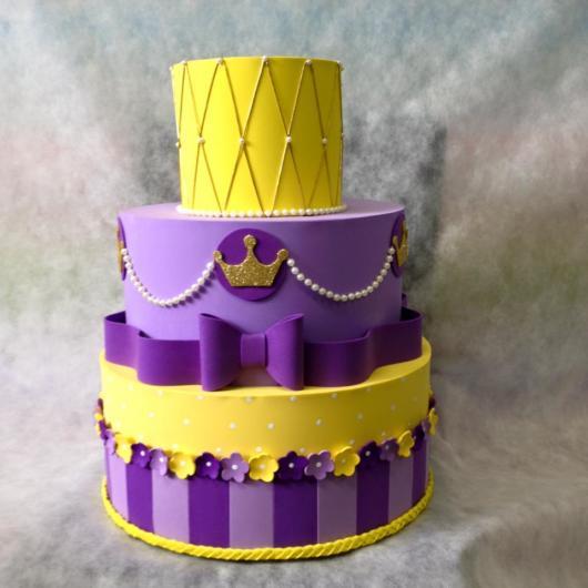 Rapunzel purple and yellow three-tier cake