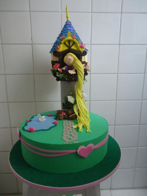 Fake cake with tower and Rapunzel with braid