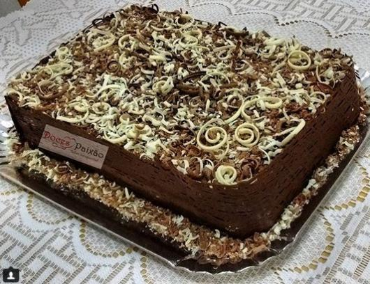 cake with chocolate shavings