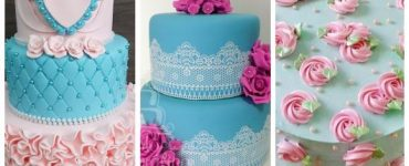 blue and pink decoration for cake