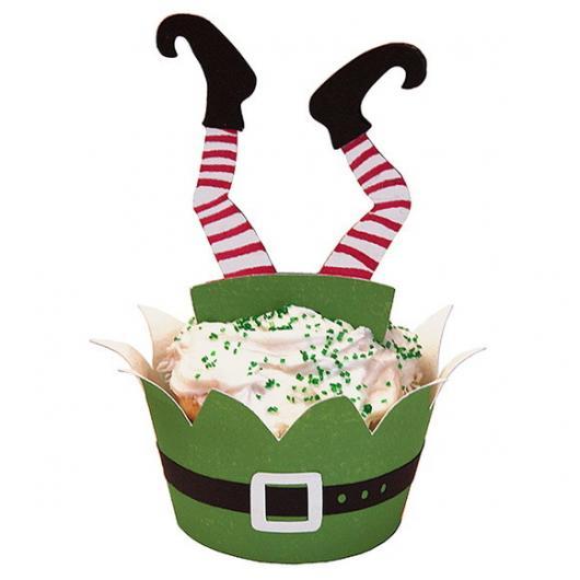 Green wrapper Christmas cupcake with disease appliqué