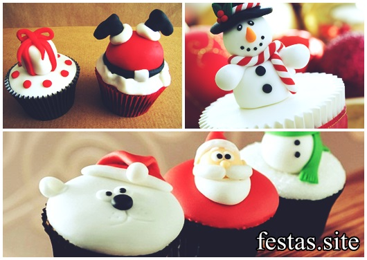 Christmas cupcake decorated with american paste