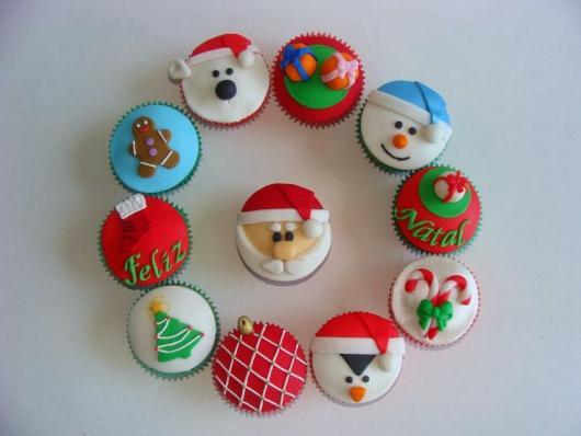 Christmas Cupcake Powdered Milk Paste Applique Snowman Santa Claus