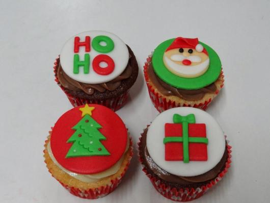 Detail Christmas cupcake made of powdered milk paste