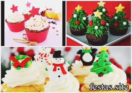 Christmas cupcake decorated with whipped cream